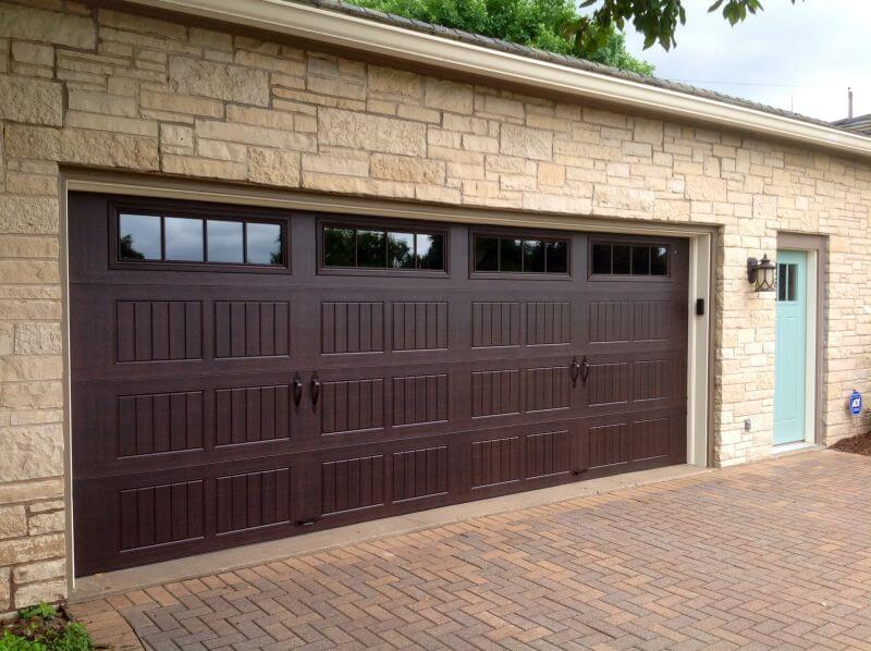 199V5 01RA 18 X 7 Thermacore Door Walnut Finish With Stockbridge 2 4 Lite  Windows (Decorative Spear Handles)