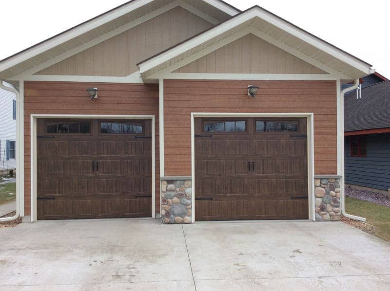 199V5 14RA 9 x 8 Thermacore Doors Mission Oak Finish with Wyndbridge 2  Windows. Thermacore  Premium Insulated Series 190 490 garage doors
